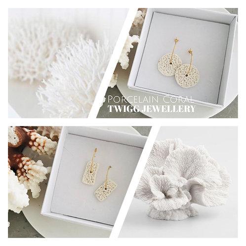Coral porcelain earrings