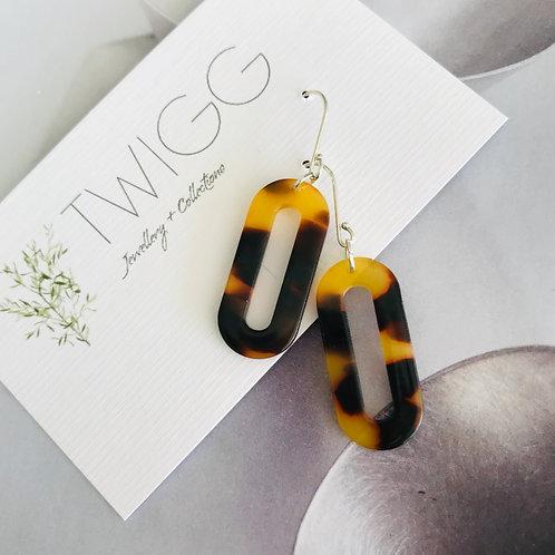 copy of Tortoiseshell wide oval earrings