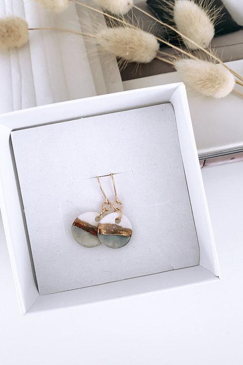 Costal washed denim porcelain earrings