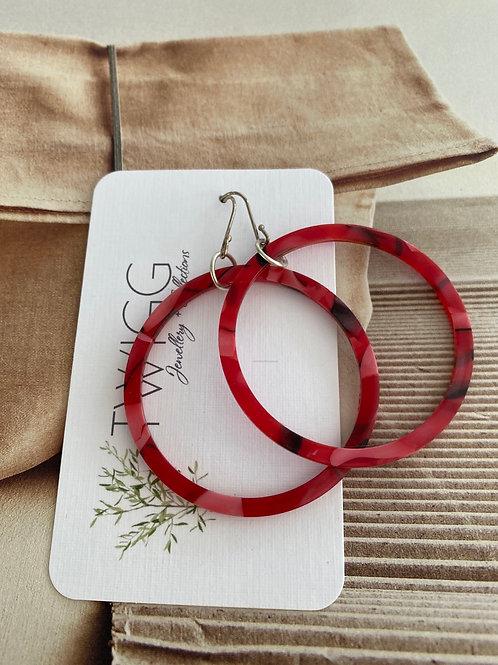 Infinity hoop earrings  50mm RED