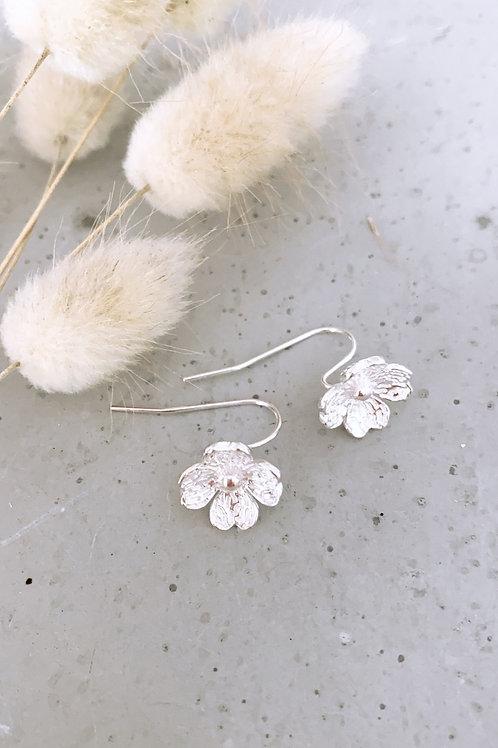 Hydrangea sterling silver earrings