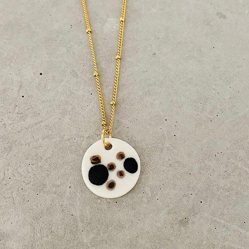 Black gold dot porcelain disc  necklace