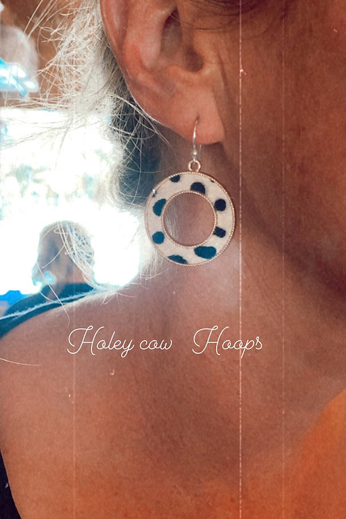 Framed cow circle earrings