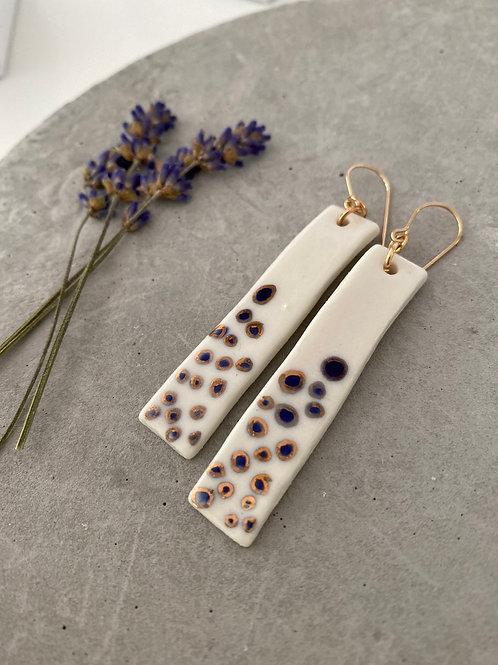 Blue and gold dot rod  porcelain earrings