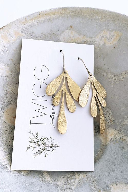 Midi willow  Satin brass earrings