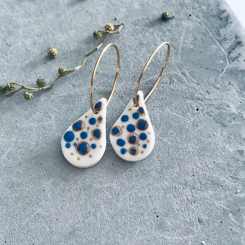 Droplet gold + blue earrings