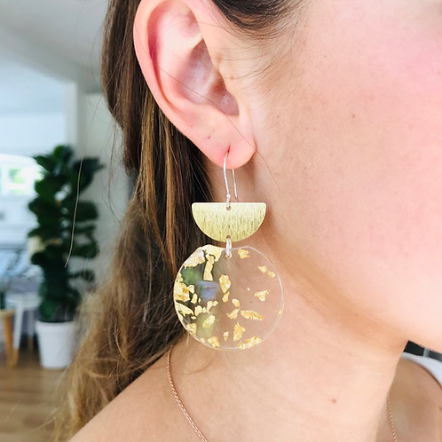 Malo crescent Gold fleck double earrings