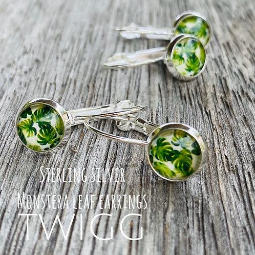 Monstera leaf glass dome lever back earrings