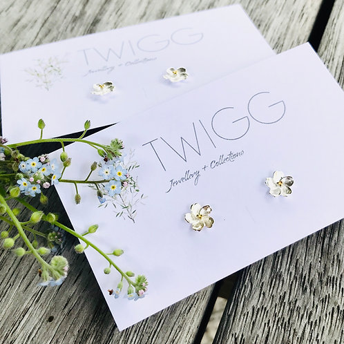 Forget me not sterling silver studs