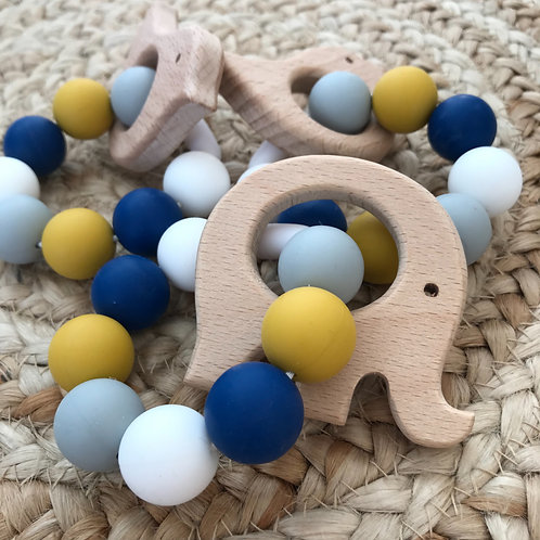 Mustard Silicone + wood teether