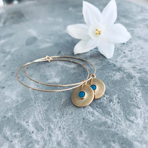 FOCUS turquoise creole hoop earrings