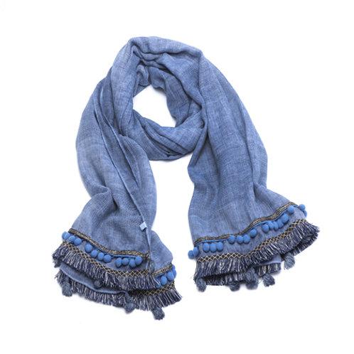 Blue Pom Pom tassel scarf