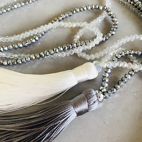 Milia - Silk | Glass Bead Tassel Necklace