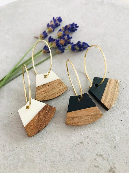Fan wood | resin earrings