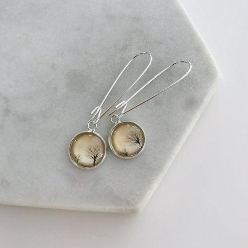 Sterling silver woodland earrings