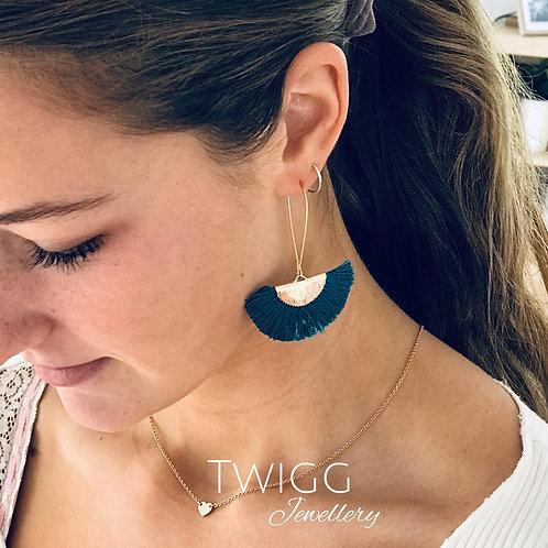 Teal Isabella fan earrings