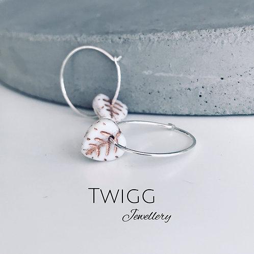 Porcelain leaf creole hoop earrings