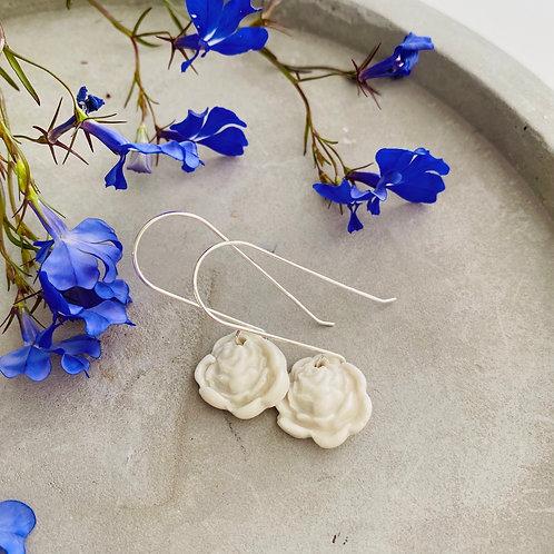 Rose ceramic French hooks earrings