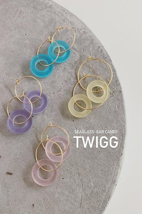Seaglass ringo hoops x4