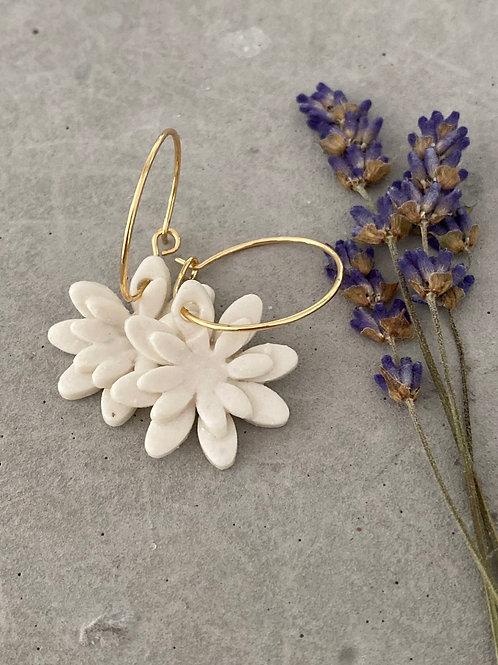 Double daisy porcelain earrings