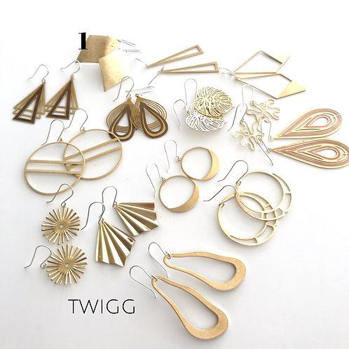 12 x Brass Earring Mix