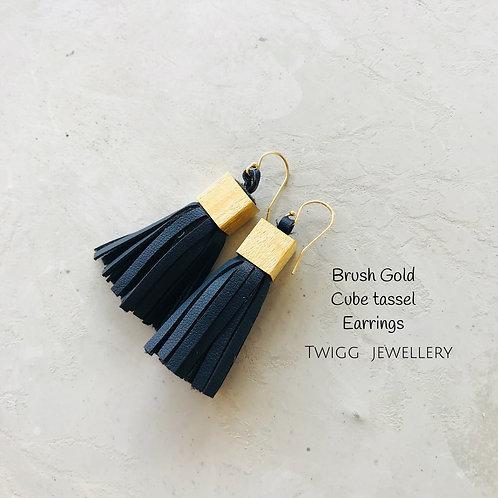Brushed Gold Tassel Earrings