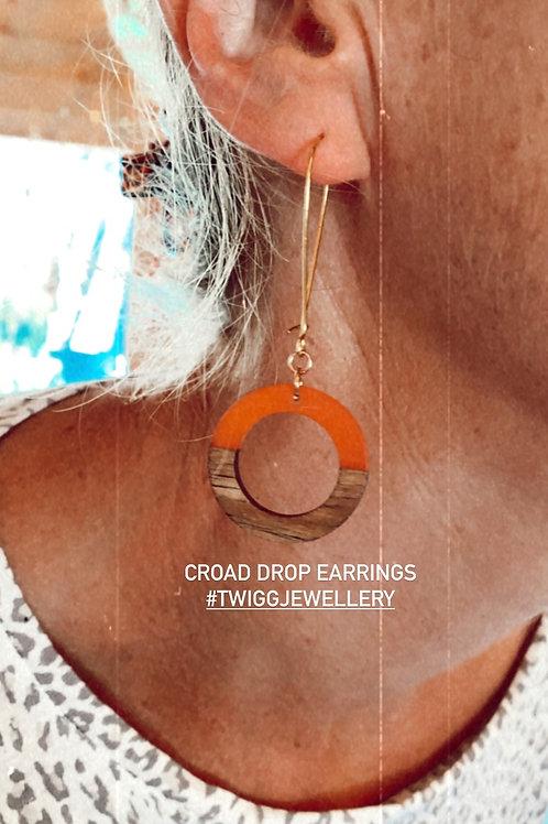 Croad Orange Circle Earrings