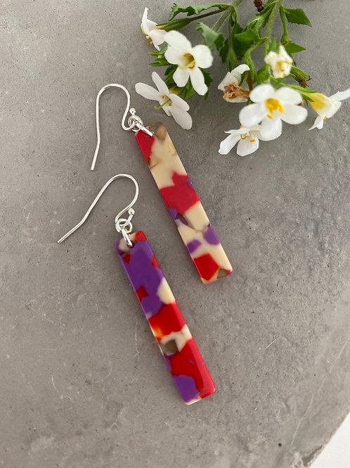 Fushia rod earrings