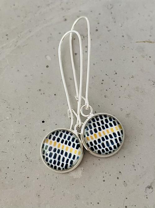 Mustard dot mono glass dome earrings
