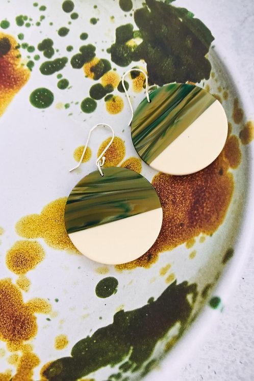 Olive Spliced resin earrings