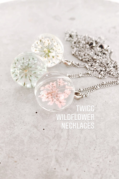 Pressed wildflower orb pendant necklace
