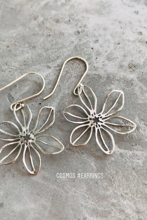 Cosmos flower earrings - silver