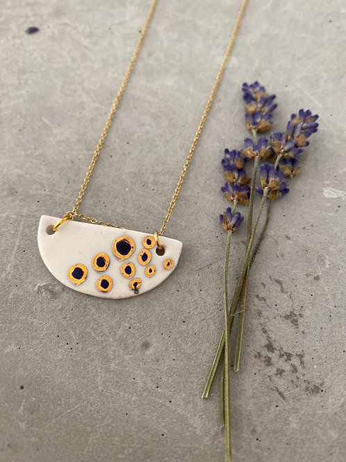 Crescent dot porcelain  necklace