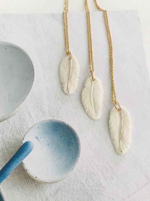 Porcelain  feather lustre necklace