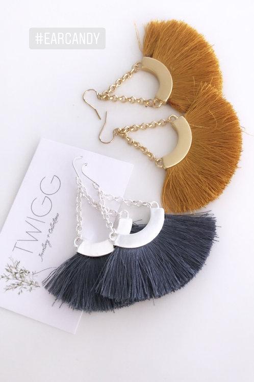 Bronte chain fan tassel earrings