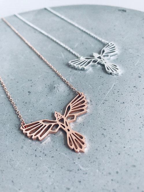 Birds of flight geometric necklace