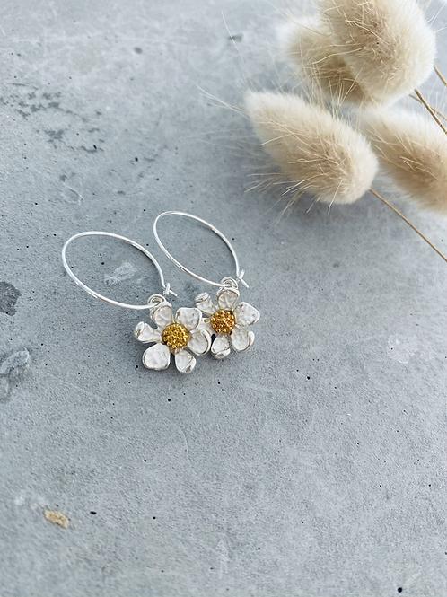 Aster flower earrings - / silver hoop