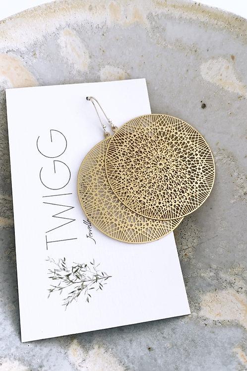 Fine filigree circle Satin brass earrings