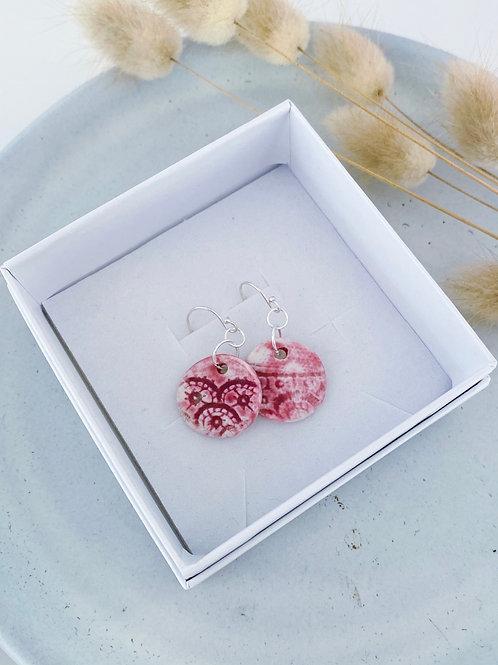 Blush lace porcelain earrings