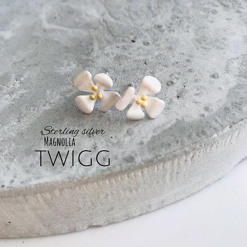 Magnolia sterling silver studs