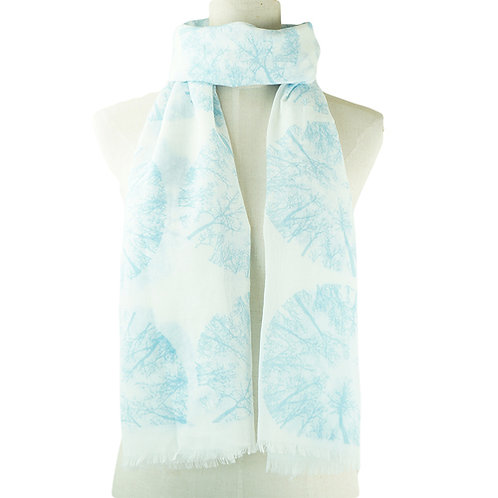 Coral - light blue scarf