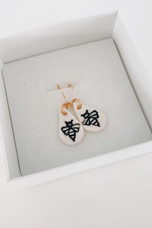 Bee porcelain earrings