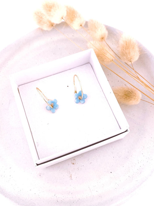 Blue forget me not Porcelain Earrings
