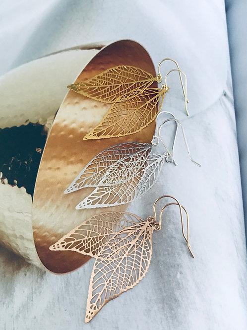 Fine filigree skeleton leaf Earrings