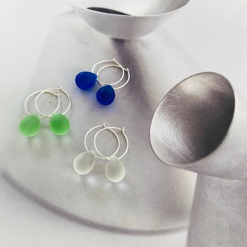 droplet seaglass hoop earrings