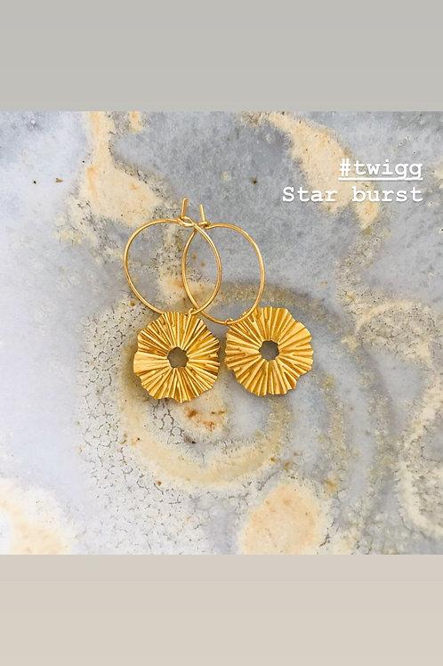 Star burst hoop earrings
