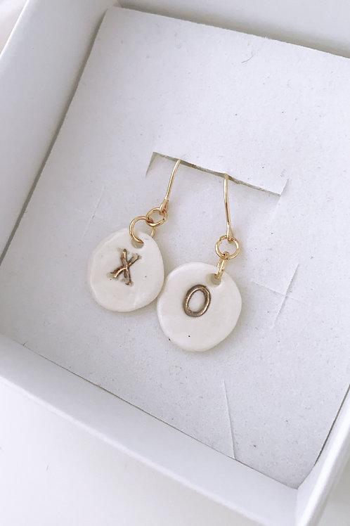 Xo gold hook porcelain earrings
