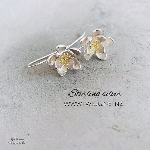 Blossom flower 925 sterling silver earrings