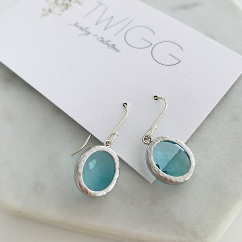 Audrey Matte aqua flats drop earrings