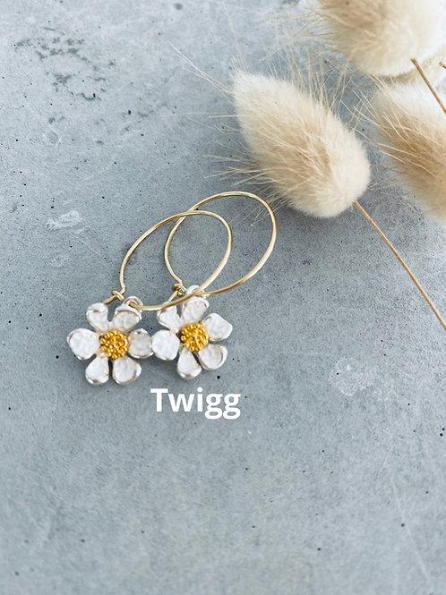 Aster flower earrings - / gold hoop